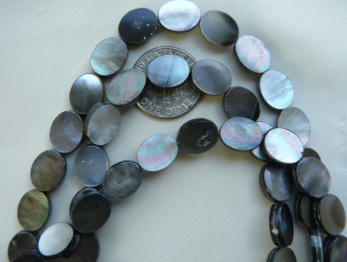"8x10 Abalone shell beads polished on both sides 16"" strands"