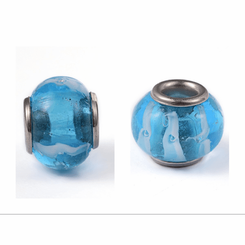 Abacus Lampwork European Large Hole Beads, with 304 Stainless Steel Core, DeepSkyBlue, 14~15x9.5~12mm, Hole: 5mm