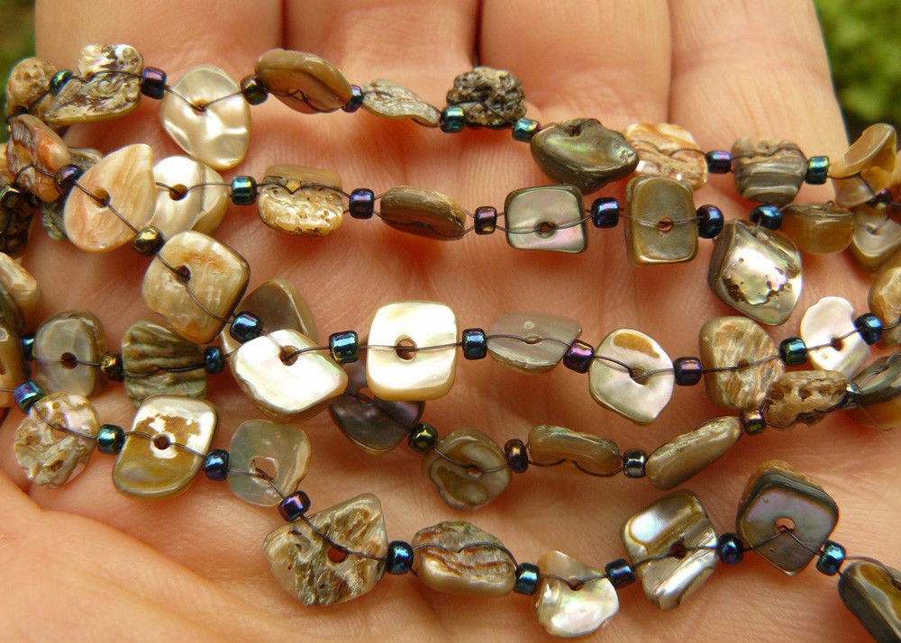 "Abalone 36"" chip Beads with decoration ready to wear"