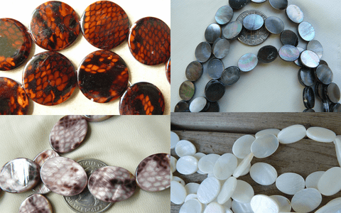 Abalone Mother of Pearl and exotic shell Beads