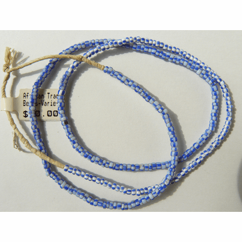 """African trade beads 2x3mm white and blue color 24"""" strands"""