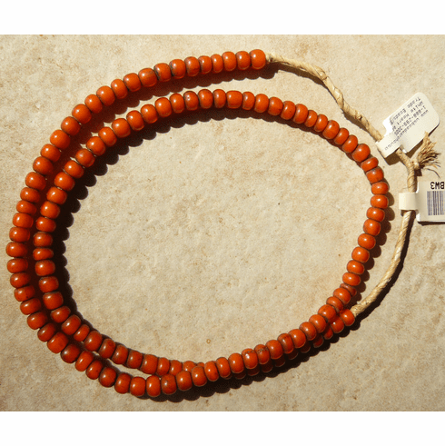 """African white heart beads Orange color 4x6mm 22"""" strands"""
