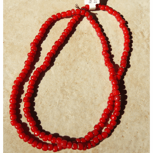 """African White heart beads Red color4x5mm 24"""" strands"""