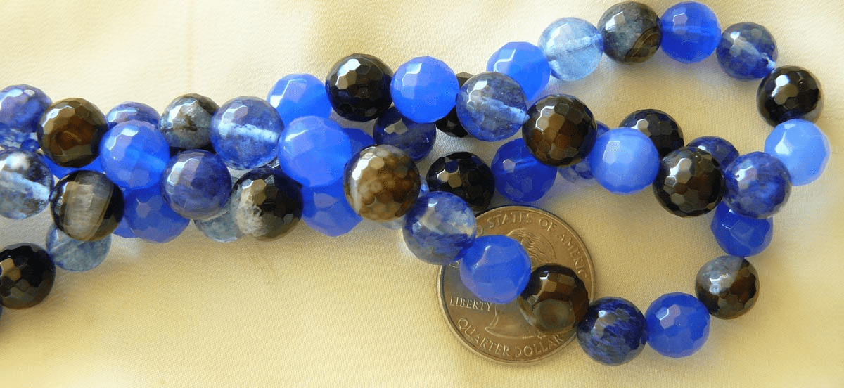 Agate colorful 10mm Faceted beads black and blue