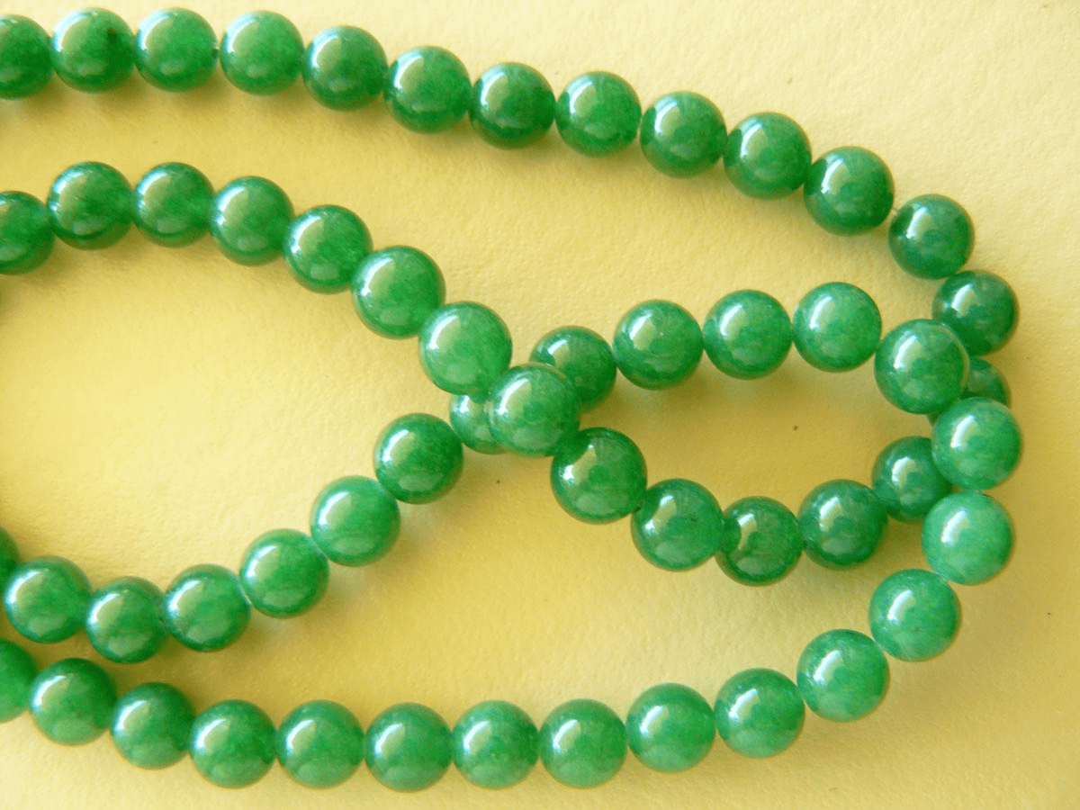 "Agate green beads 6mm round 16"" strands"