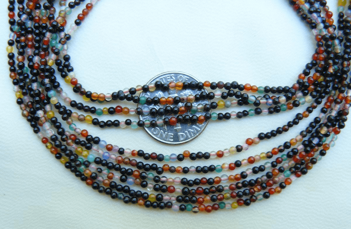 """Agate Multi-colored beads 1.5mm 16"""" strands Colorful"""