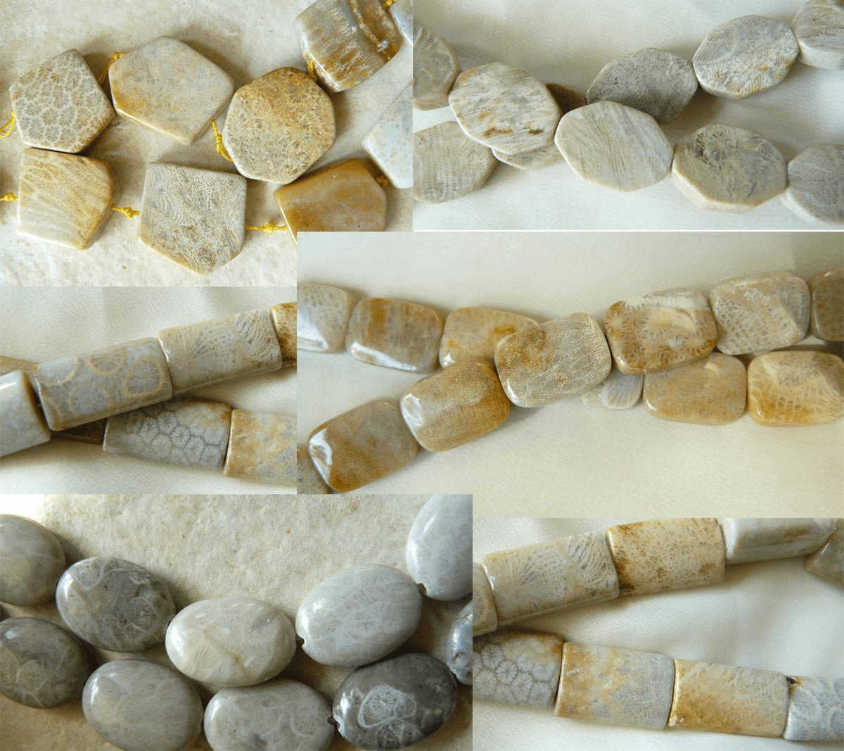 """Agatized Fossilized Coral Beads Ovals, Bricks,and more 16"""" strands"""