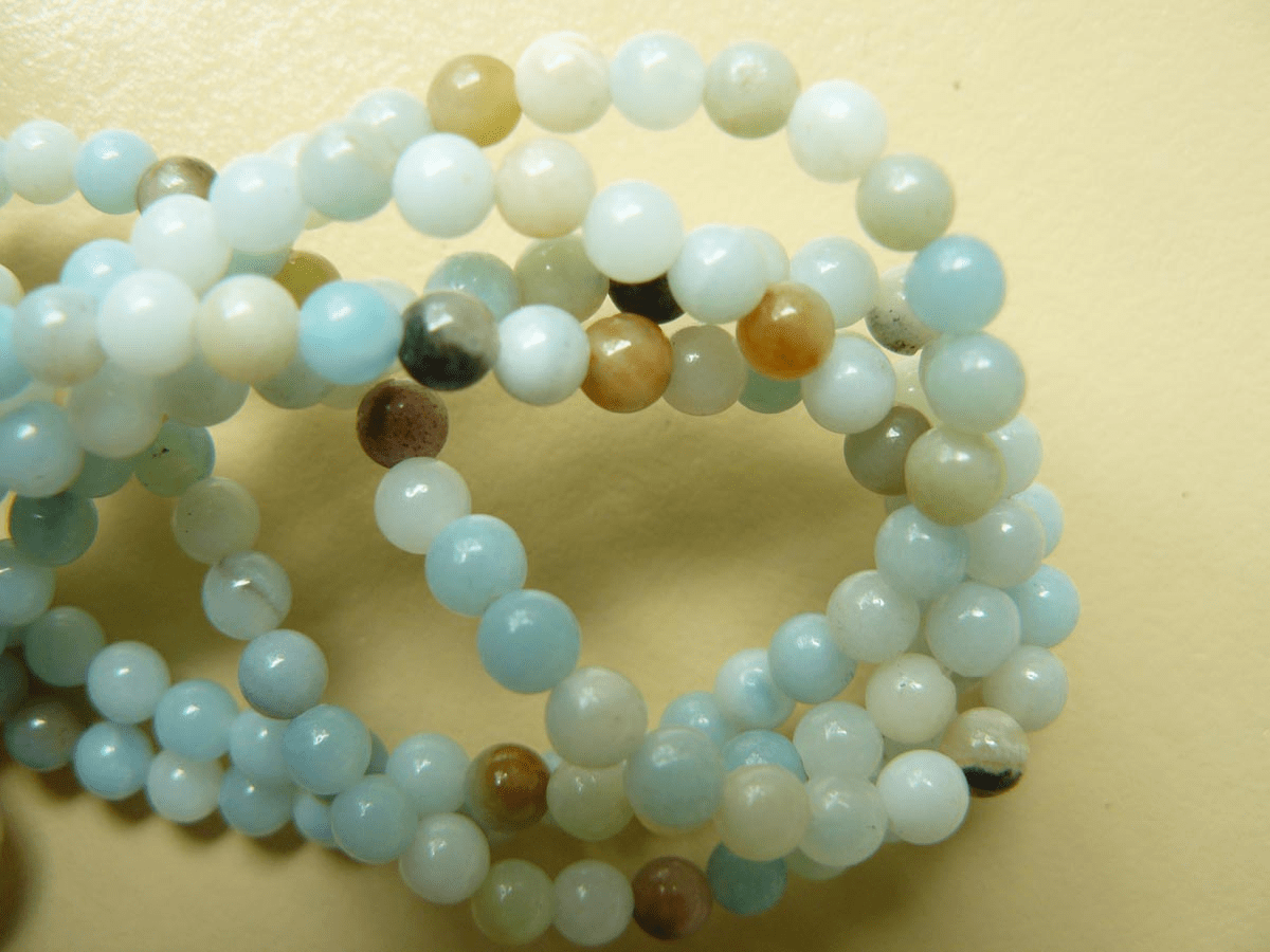 "Amazonite beads 4mm round 16"" strands"