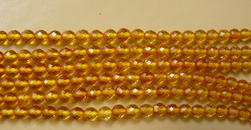 """Amber beads lemon color faceted 16"""" strands 4 or 6mm (SOLD OUT)"""