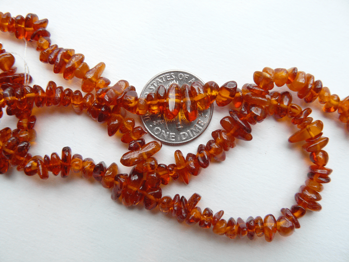 "Amber Chip Beads 5x6mm Avg size  Natural Baltic Amber 16"" Strands"