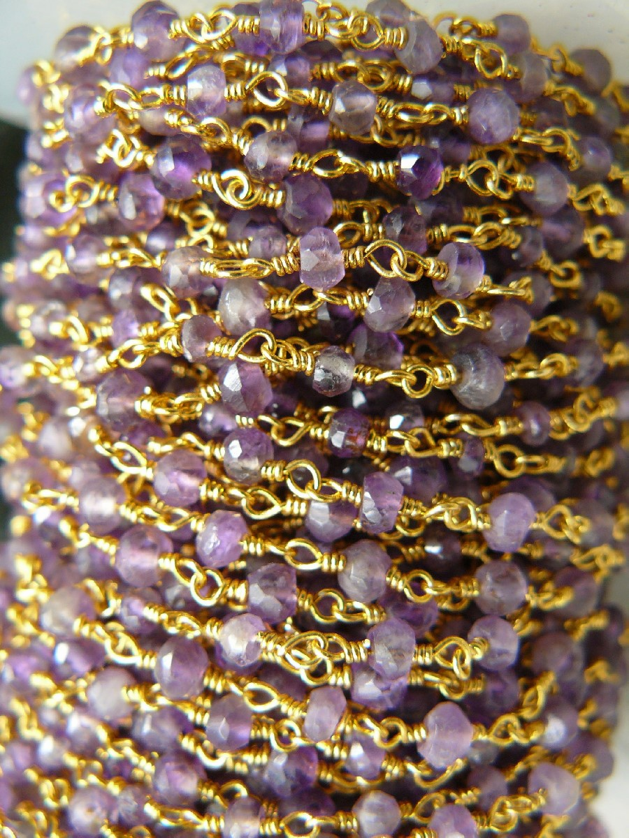 Amethyst 3mm Gems on a 24kt Gold Over Copper Chain