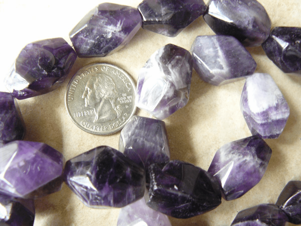 "Amethyst Faceted Chunky nugets 16"" strand of beads"