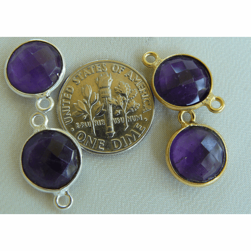 Amethyst faceted gems with 1 or 2 loops silver or gold