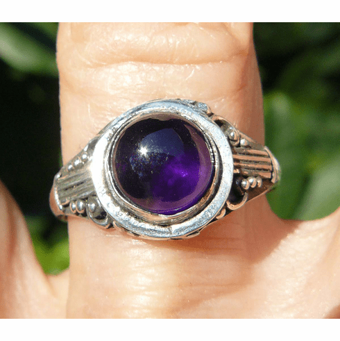Amethyst Ring set in Sterling Silver size 8 with 8mm round stone