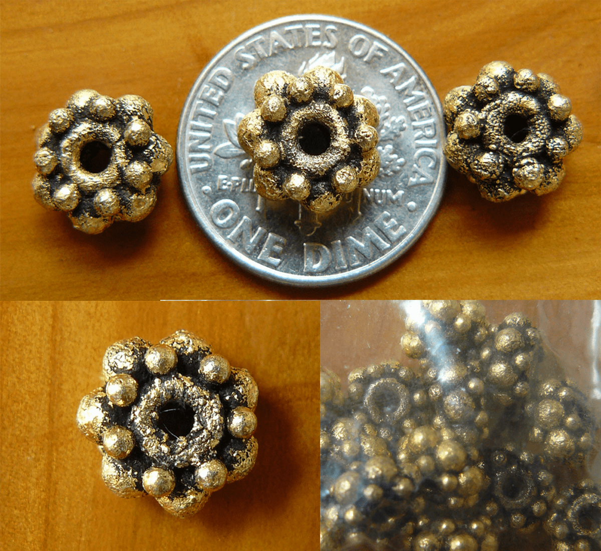 Antique Gold Beads 9x5mm 18chunkey nugget Beads