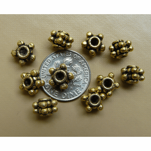 Antique Gold Beads bonded 0ver copper core 8x6mm