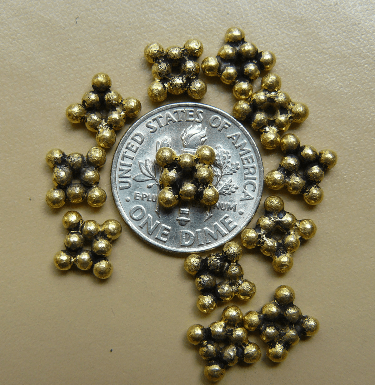 Antique Gold Beads Bonded ove copper core7x2.5mm 40+ beads
