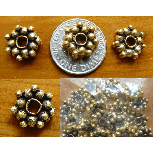 Antique Gold Beads  bonded over copper 11x4mm 20+ beads