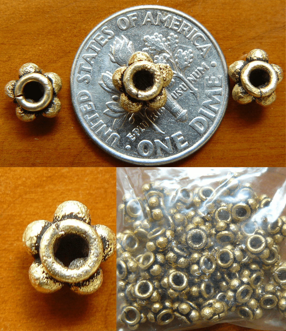 Antique Gold Beads Bonded over copper- 6x4mm 50+ beads