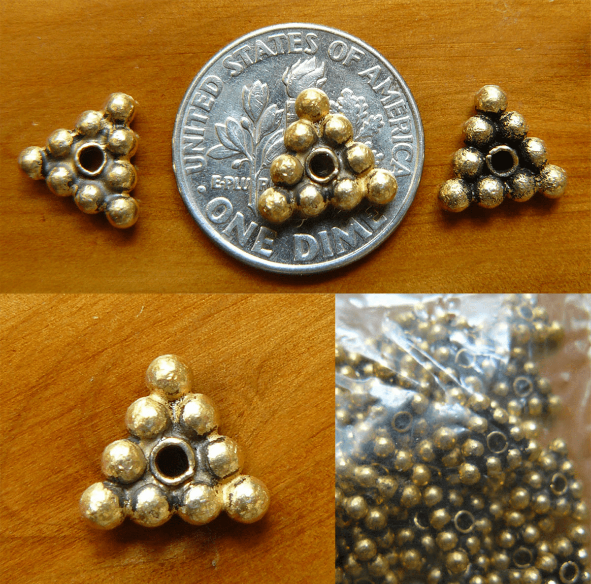 Antique Gold Beads bonded over copper 9x2.5mm triangle 35 beads