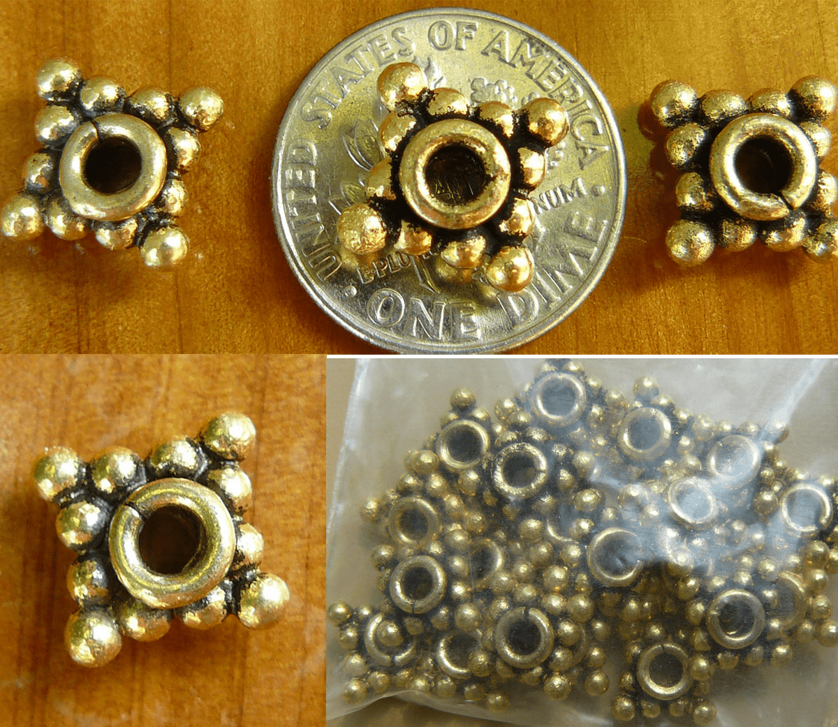 Antique Gold Beads bonded over copper core 10x5mm 20+ beads