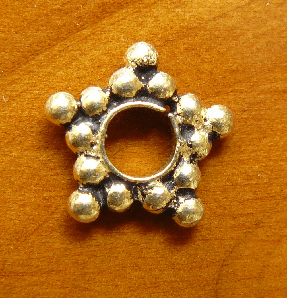 Antique Gold Beads bonded over copper core 11x2mm 12mm star