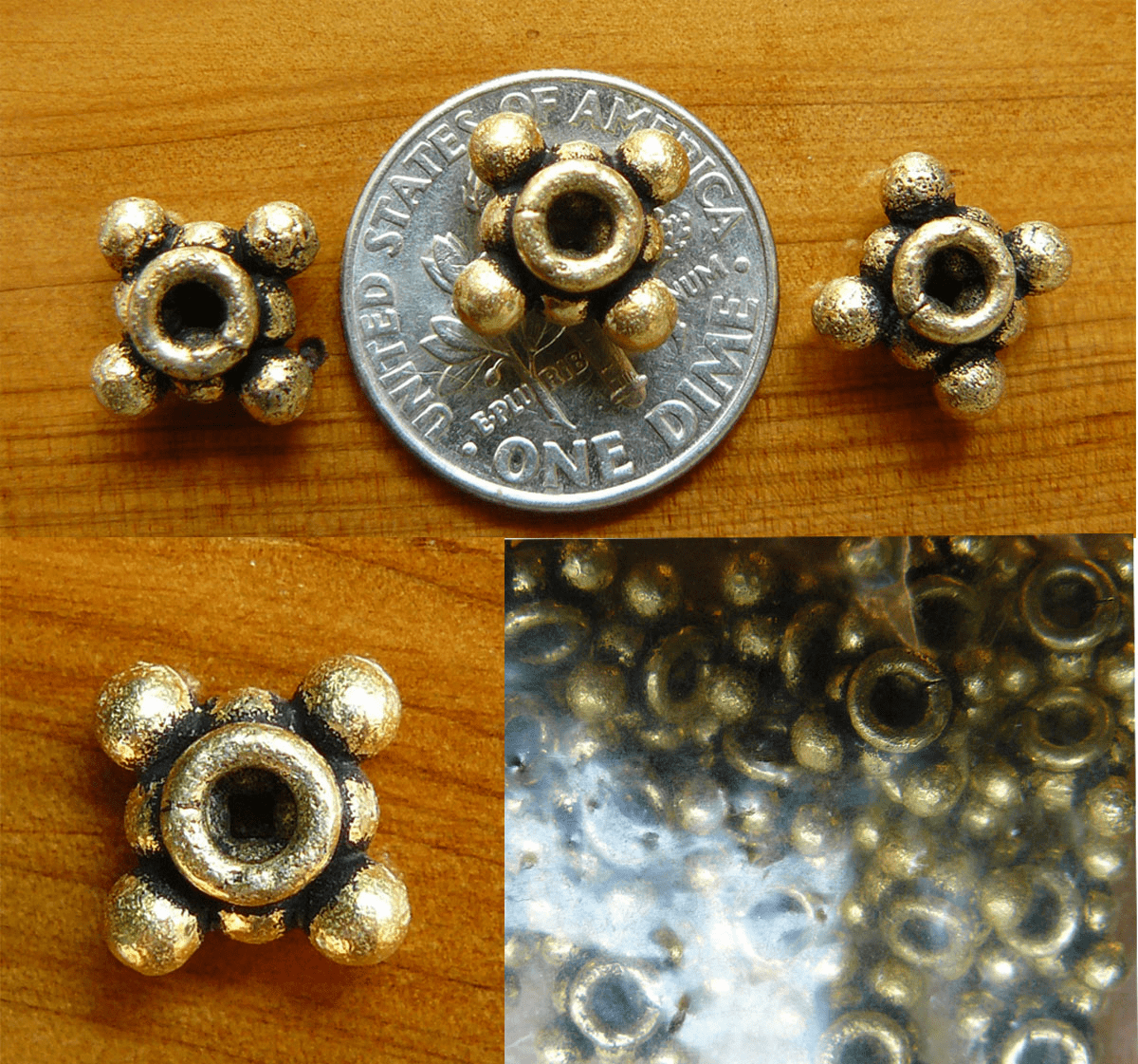 Antique Gold Beads bonded over copper core9x6mm 20 beads