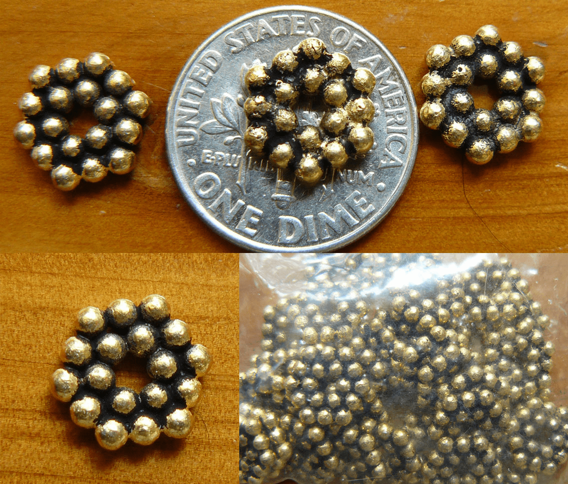 Antique Gold Beads  over copper core 9x2mm 30+ beads