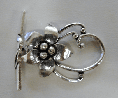 Antiqued Floral Clasp - 30x18mm Flower with 30mm Bar - .999 Silver Over Copper