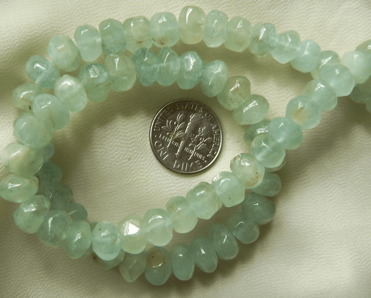 Aqua Marine faceted Rondell beads 9x6mm lusterous shiny