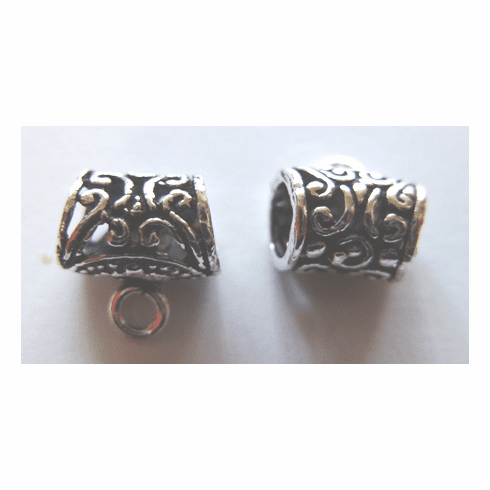 Bail - 11x11mm - 6 Pieces - .999 Silver Over Copper