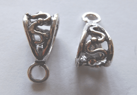 Bail - 7x15mm - 6 Pieces - .999 Silver Over Copper