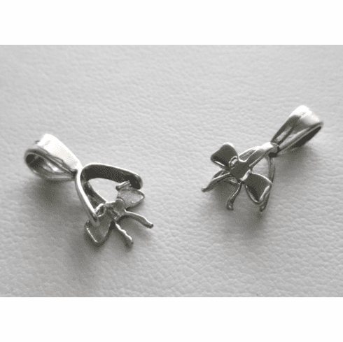 Bail w/ Bow Pattern - 8x17mm - 2 Bails - Sterling Silver<br>SS-B4048118