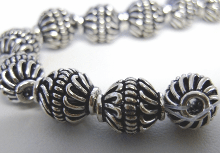 Bali Bead - 11mm - 18 Beads - .999 Pure Silver Over Copper<br>SCBK133B