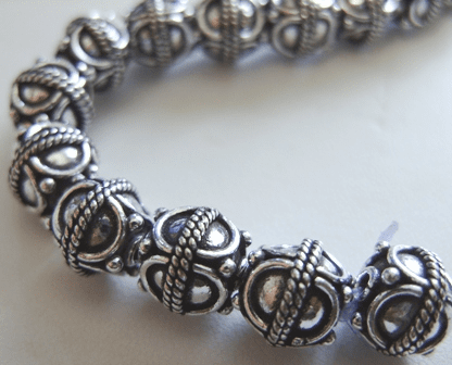 Bali-Style Bead - 10mm - 22 Beads - .999 Silver Over Copper