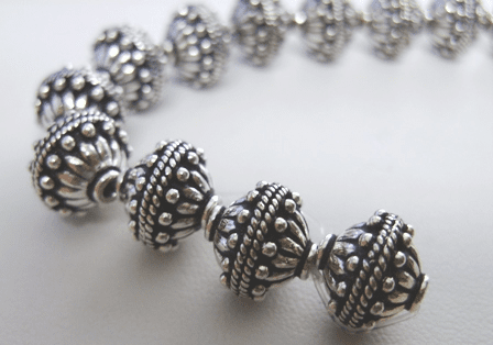 Bali Style Bead - 11mm - 6 beads - .999 Pure Silver Over Copper<br>SCBK93
