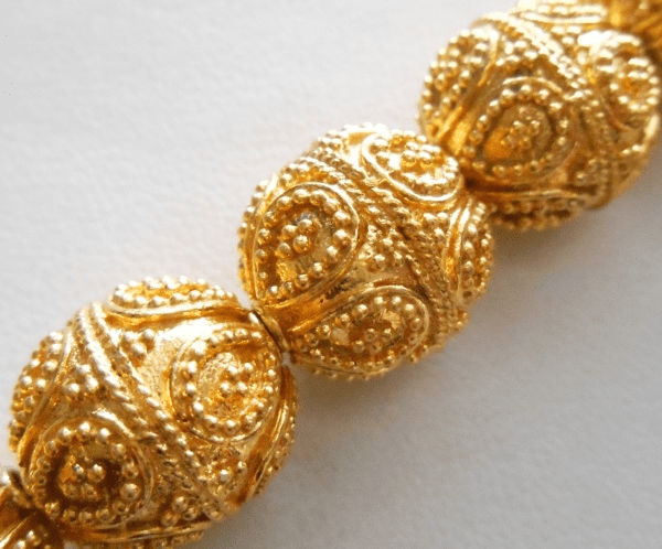 Bali Style Bead - 12x12mm - 16 Beads - 24Kt. Gold Over Copper Core<br>GCBK421F