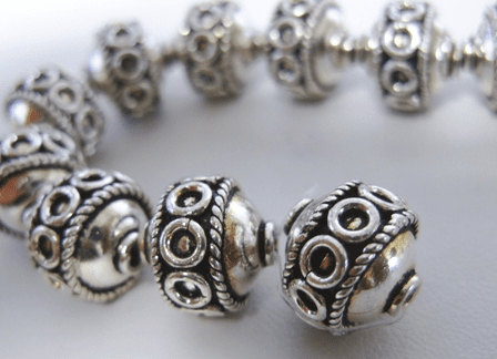 Bali Style Bead - 13mm - 16 Beads - .999 Silver Bead Over Copper<br>SCBK34