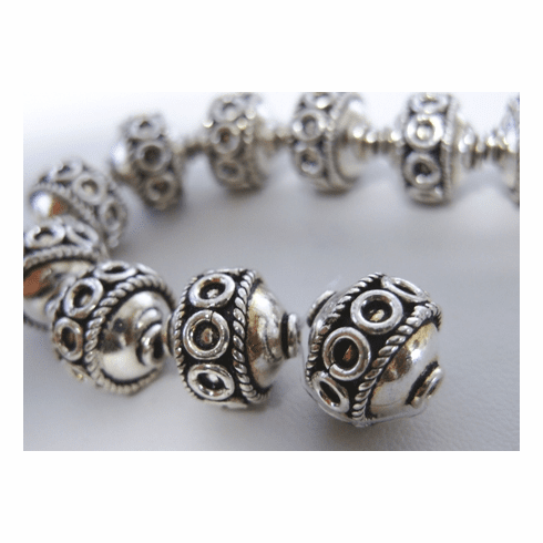 Bali Style Bead 13mm 5 Beads .999 Silver Bead Over Copper SCBK34