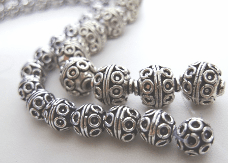 Bali-Style Bead - 7mm: 28 Beads - 11mm: 18 Beads - .999 Pure Silver Over Copper