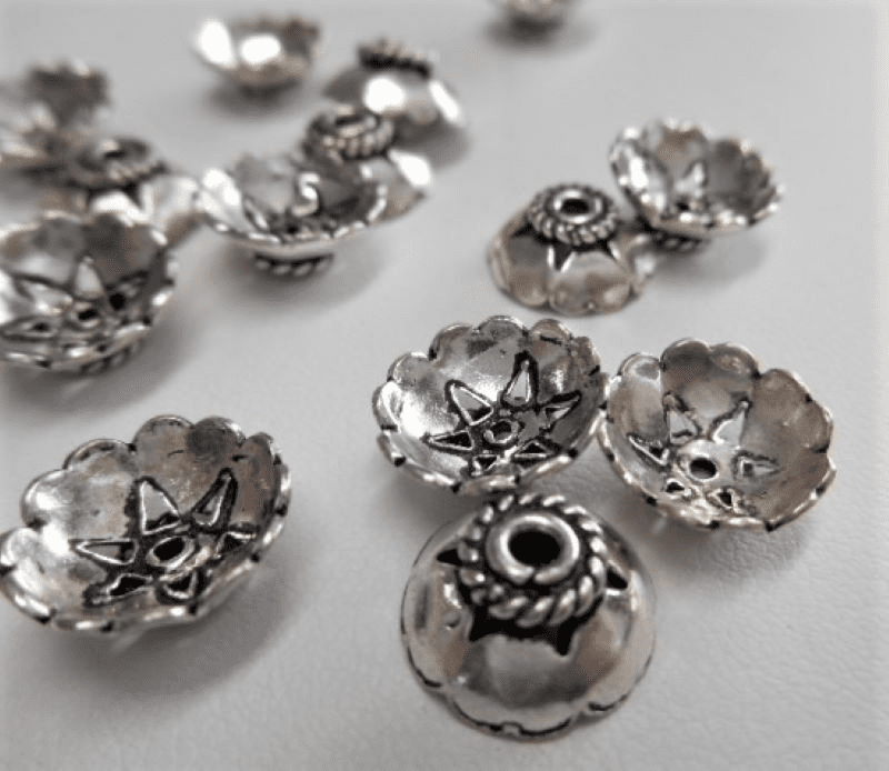 Bali Style Bead Cap 11mm 18 pcs. 999 Silver Over Copper SCBK31