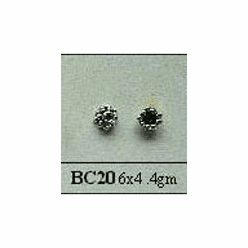 Bali Style Bead Cap - 6mm - 2 Pieces - Sterling Silver<br>BC20