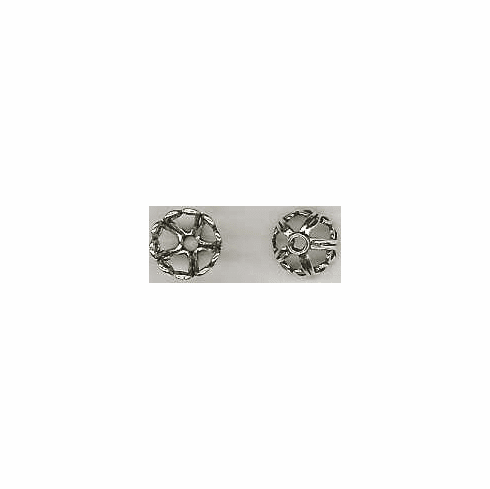 Bali Style Bead Cap - 7mm - 2 Pieces - Sterling Silver<br>RBC-21