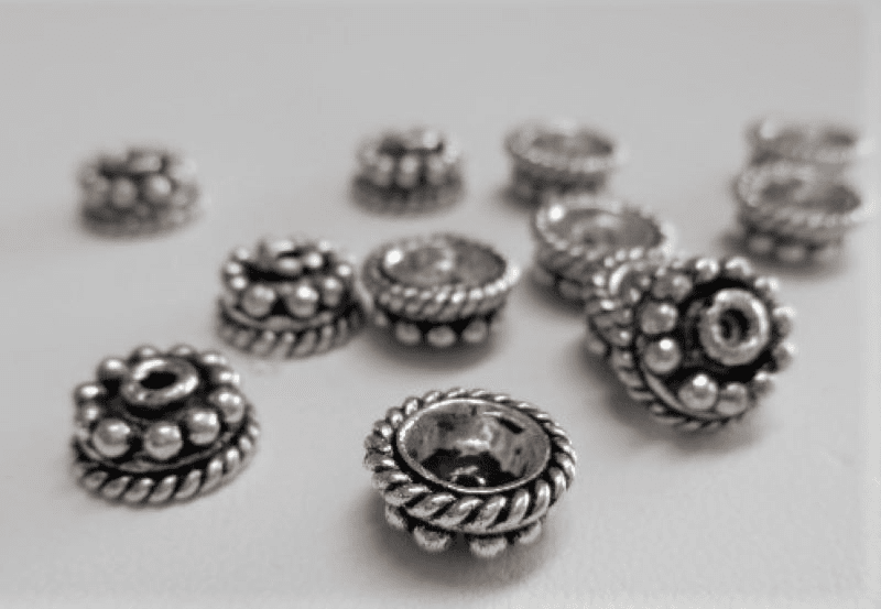 Bali-Style Bead Cap 9mm .999 Pure Silver Over Copper SCBK64