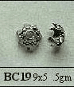 Bali Style Bead Caps - 9mm - 4 Pieces - Sterling Silver<br>BC19