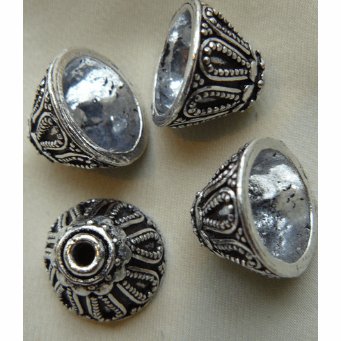 Bali Style Cone - 22x10mm - 4 Pieces - .999 Silver Over Copper