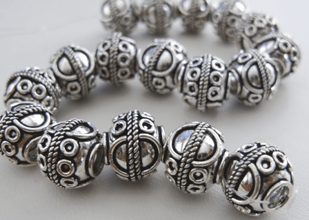 Bali Style Large Hole Bead 4 Beads 12mm .999 Pure Silver Over Copper SCBK30