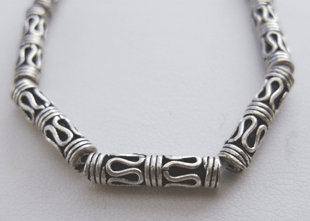 Bali-Style Tube Bead - 15x4mm - 14 Beads - .999 Silver Over Copper
