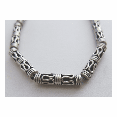 Bali-Style Tube Bead 15x4mm 12 Beads .999 Silver Over Copper SCBK33