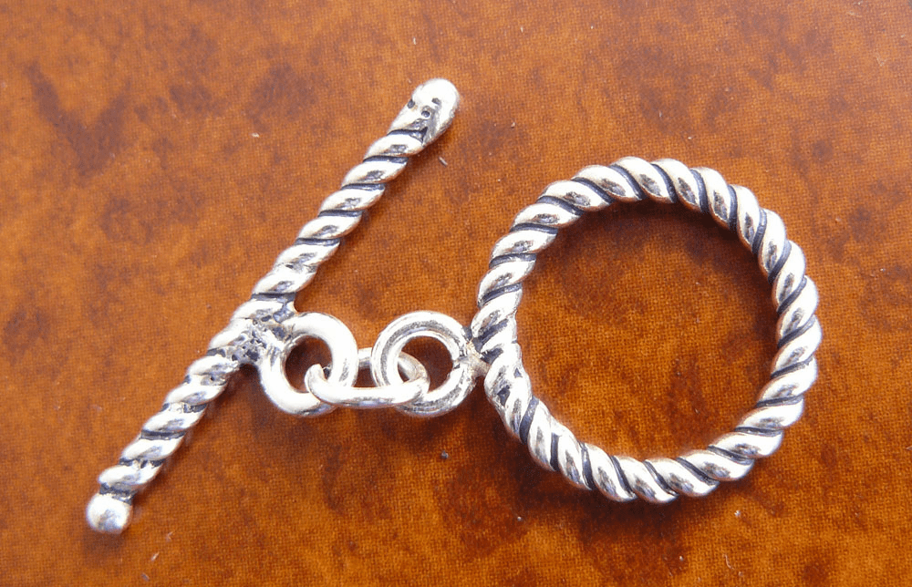Bali Toggle 15mm Ring w/ 20mm Bar 1 Clasp Sterling Silver T-27